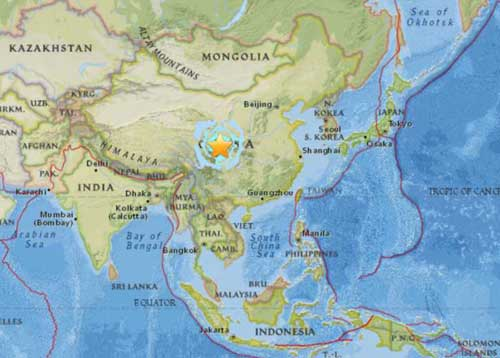 Location of Tuesday's 6.5 magnitude quake in Sichuan province. Image-USGS