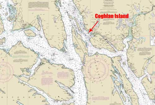 Location of Cooghlan Island three miles from Juneau Airport. Image-NOAA charts