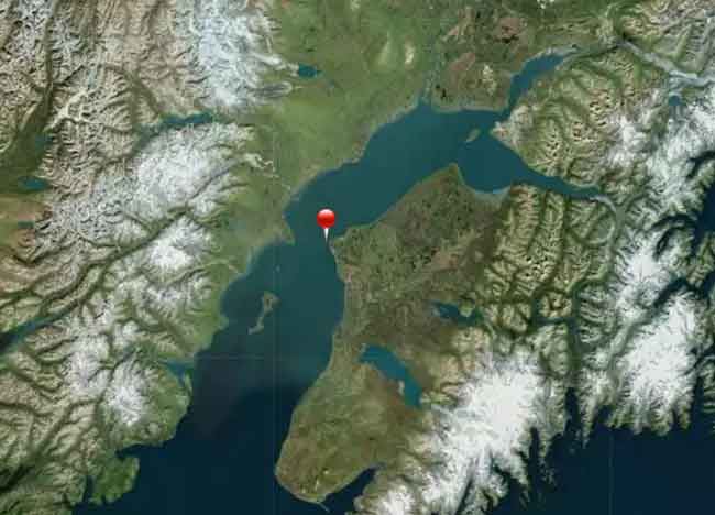 Location of leaking natural gas pipeline in Cook Inlet. Image-NASA/Earthstar Geographics