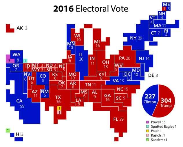 Breakdown of 2016 Electoral vote. Image-Ali Zifan/Cartogram—2012 Electoral Vote.svg by Kelvinsong