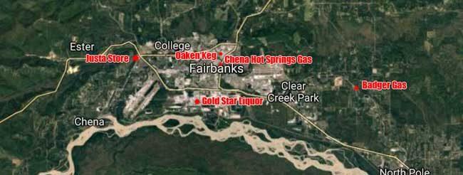 Location of various Monday morning Fairbanks attempted burglaries. Image-Google Maps