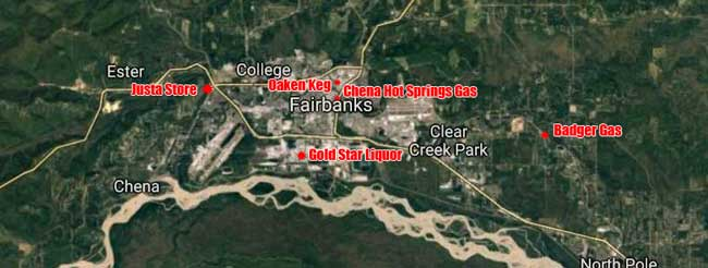 Location of various Monday morning Fairbanks attempted burglaries. Image-Google Maps