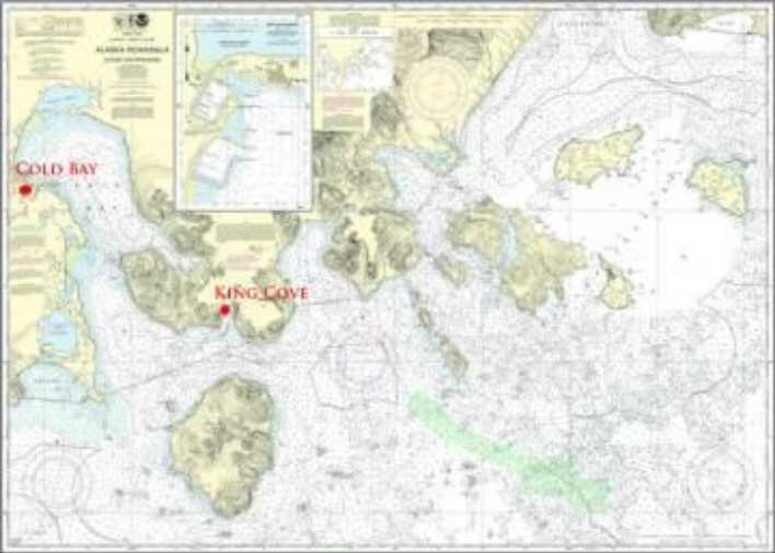 Locations of King Cove and Cold Bay on the Alaska Peninsula. Image-NOAA Charts