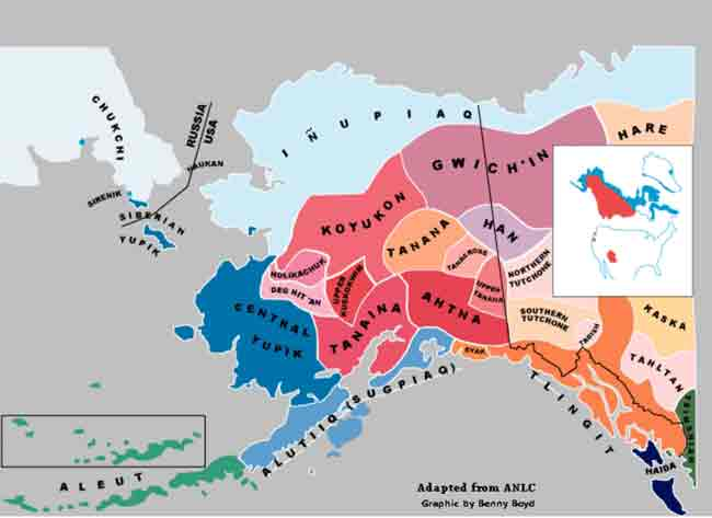 Map showing indigenous languages in Alaska. Image-Benny Boyd/UAF