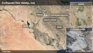 Google Maps showing the Halabja area on the border of Iran and Iraq.