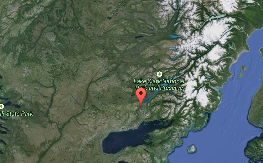 Nondalton is between Lake Clark and Iliamna Lake about 20 miles to the east of the proposed Pebble Mine. Image-Google Maps
