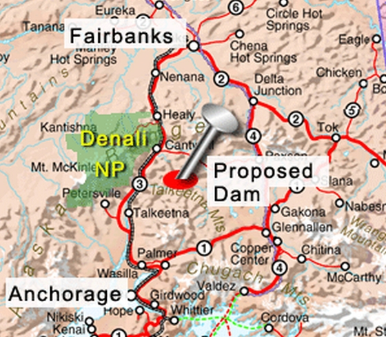 Proposed location of Susitna dam. Image-Susitna River Coalition