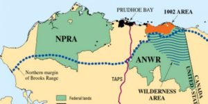 Map of northern Alaska showing locations of the Arctic National Wildlife Refuge, the 1002 area, and the National Petroleum Reserve—Alaska (NPRA). Source: U.S. Geological Survey