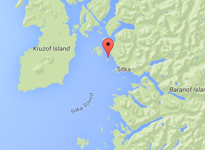 The kayak belonging to missing Sitka man, Jesse Mills was located on Kasiana Island four miles from Sitka. Image-Google Maps