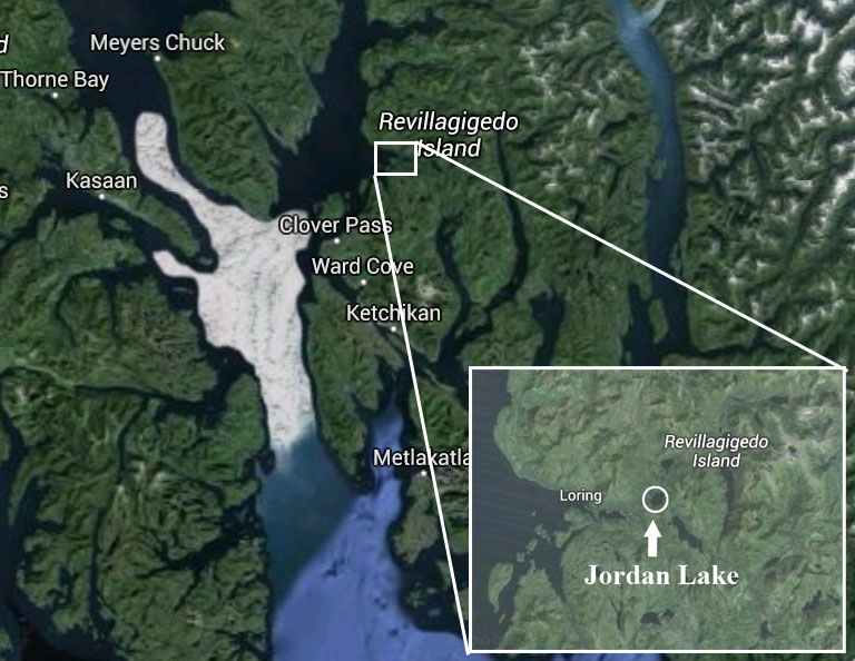Location of float plane accident site (inset) 20 miles north of Ketchikan. Image-Google Maps