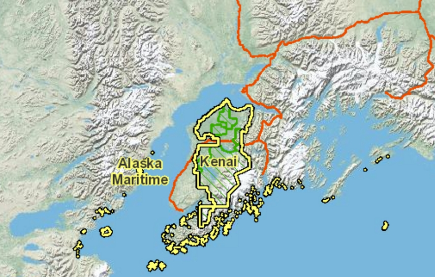 Map showing Kenai National Wildlife Refuge. Image-National Geographic Society