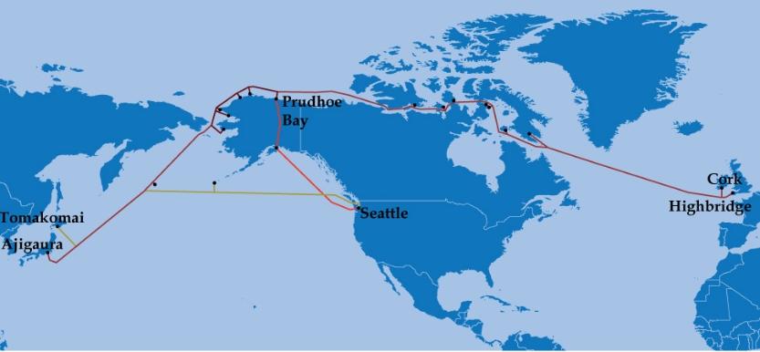 Routing map of proposed submarine fiber optic cable. Image-ArcticFibre
