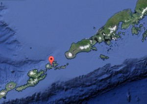 The isolated community of Akutan resides in the Fox Island group on the Aleutian Chain. Image-Google Maps
