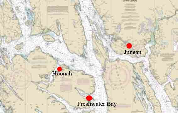 Location of Freshwater Bay in relation to Hoonah and Juneau. Image-NOAA