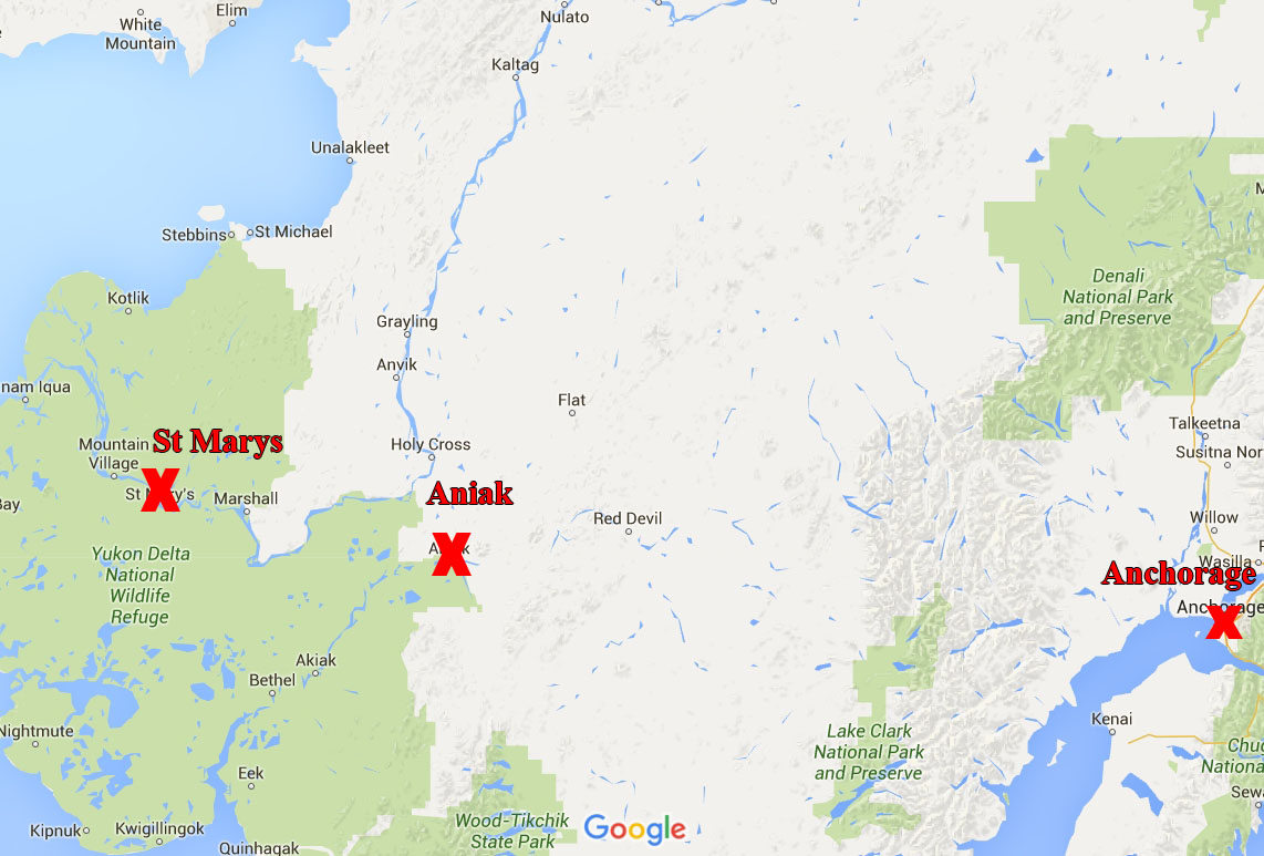 Map showing location of St Marys, Aniak, and Anchorage. Image-Google Maps
