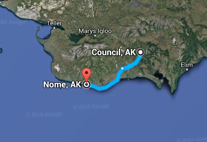 Searchers continue to look for missing hiker, Joseph Balderas halfway between Nome and Council. Image-Google Maps