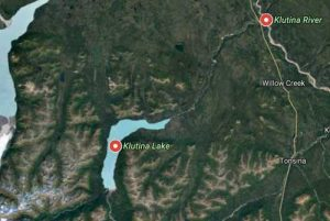 Klutina Lake Road begins on the Old Richardson Highway near the mouth of the Klutina River and extends up to the lake. Image-Google Maps.
