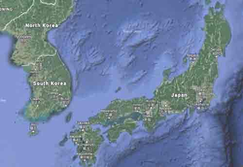 Map showing South Korea and Japan. Image-Google Maps