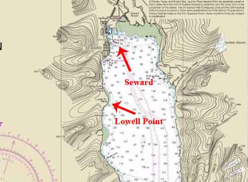 Chart showing location of Seward and Lowell Point. Image-NOAA Charts