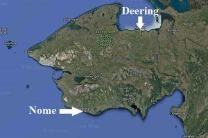 Location of Nome and Deering on the Seward Peninsula. Image-Google Maps