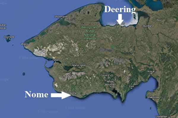 Location of Nome and Deering on the Seward Peninsula. Image-Google Maps