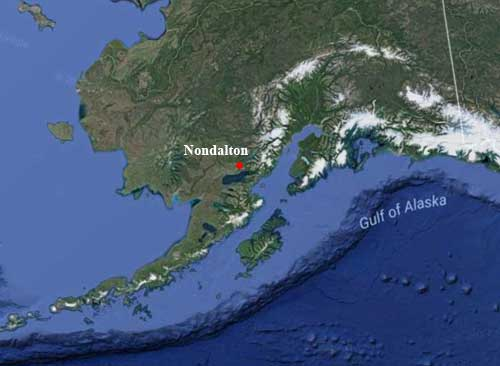 Nondalton, on the Alaska Peninsula. Image-Google Maps