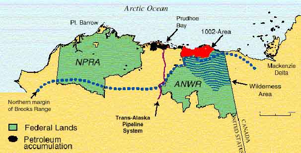 Map showing locations of National Petroleum Reserve and ANWR 1002. Image-USGS