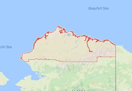 Map showing the North Slope Borough. Image-Google Maps