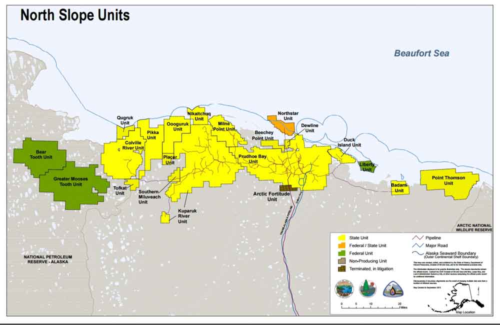 Map showing the location of the Pikka Unit on Alaska's North Slope. Image-Alaska Department of Natural Resources