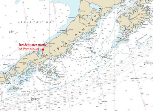 Location of Port Moller and incident area. Image-NOAA charts