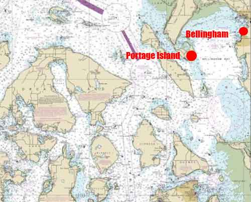 Location of Bellingham and Portage Island. Image-NOAA charts