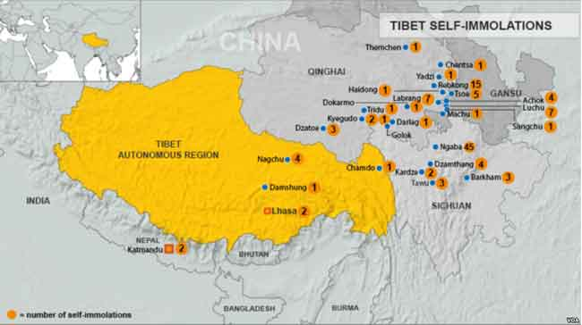 Map of self-immolations in Tibet, or near Tibet. Image-VOA