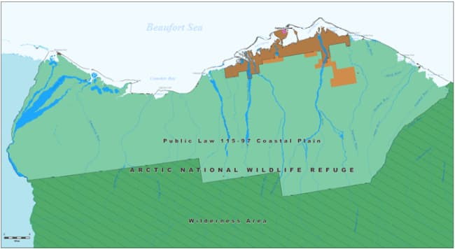 Proposed location of oil and gas leasing program within the Arctic National Wildlife Refuge Coastal Plain. Image-BLM