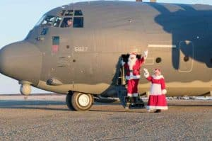 Santa and Mrs. Claus catch a ride with the Alaska National Guard. Image-ANG