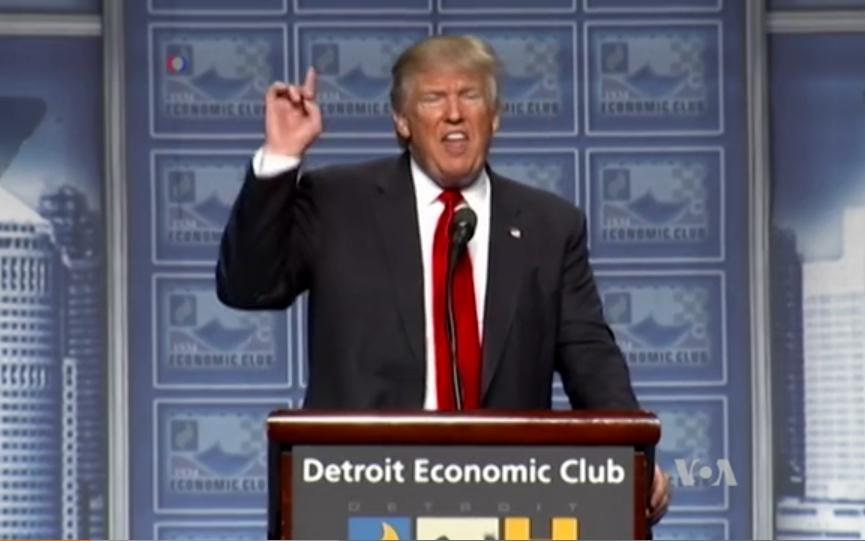 Republican candidate Donald Trump speaking in Detroit. Image-VOA