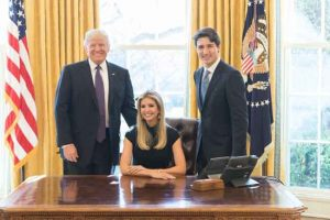 Ivanka (seated) with her father, President Trump and husband Jared Kushner in the oval office. Image-Ivanka Trump/Twitter