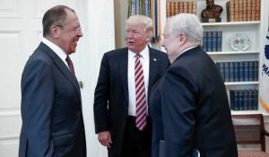 Trump meeting with Russian Foreign Minister Sergey Lavrov and Russian Ambassador Sergei Kislyak behind closed doors one day after Comey firing. Image-Russian Foreign Ministry
