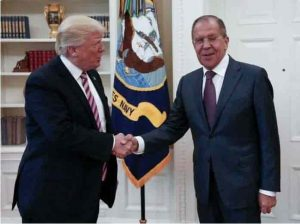 Russia's Ministry of Foreign Affairs tweeted a photo of Trump and Lavrov Wednesday morning.