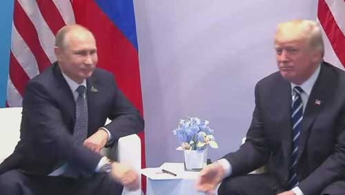 Russia's Putin, and Trump at the G20 Summit. Image-Screengrab