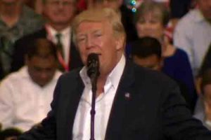 Trump speaking about Swedish incident on his first 2020 campaign rally. Image-VOA