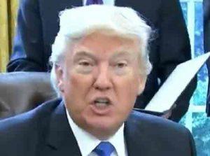 Trump announcing Executive order to begin construction on Dakota Access Pipeline. Image C-SPAN screengrab