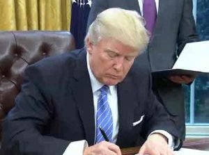WIth a stroke of his pen, President Trump did away with the 12 nation Trans-Pacic trade deal, opening the way for China to lead in Asian trade. Image-C-SPAN