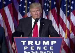 President Elect Donald Trump speaking after election win. Image-VOA