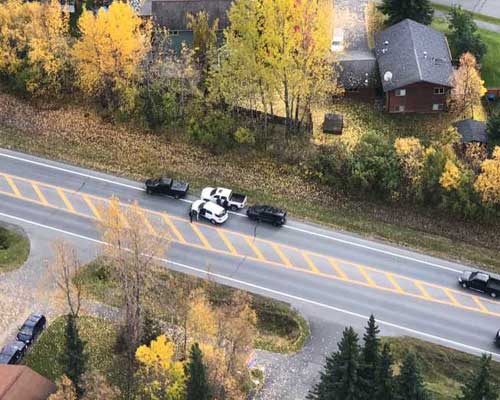 Aerial view of Anchorage traffic stop. Image-APD