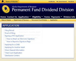 Click image to go to PDF application page. Image-Screenshot of Permanent Fund Dividend Division