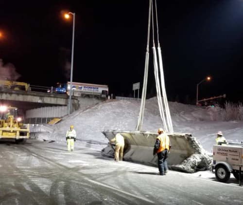 Section of damaged girder removed from Tudor Overpass. Image- AKDOT&PF