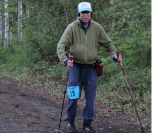 Andy Sterns of Fairbanks competes in the Alaska Endurance Trail Run, during which he kept moving for 24 hours. Photo by Chris Carlson.