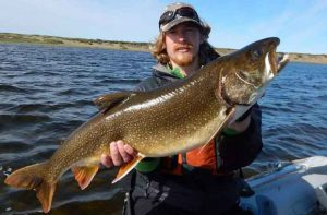 Kurt Heim shows a lake trout he caught in the Fish Creek watershed on the Arctic Coastal Plain. Photo by Lydia Smith.