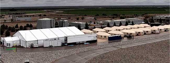 This undated photo provided by HHS' Administration for Children and Families shows the shelter used to house unaccompanied foreign children in Tornillo, Texas.