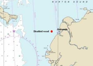 Location of Alakanuk and disabled vessel. Image-NOAA charts